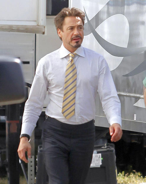 "Robert Downey, Jr. started filming his scenes for ""Iron Man 2"" this week."