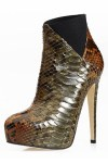 Brian Atwood python bootie w/ elastic lace detail