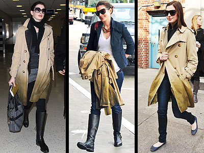 Anna Hathaway's Burberry Prorsum degradé trench  is the perfect addition to spruce up an outfit.