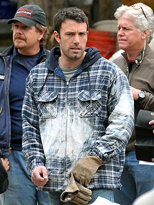 """Ben Affleck on the set of his new movie """"The Company Men."""""""