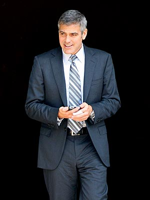"""George Clooney on the set of his new comedy """"Up In The Air"""" on location in Miami."""