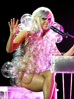 Lady Gaga in bubbles at the T Mobile Sidekick Grammy Celebration Concert at the House of Blues Boston.