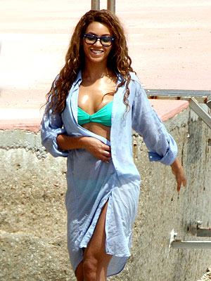 "Although on tour right now, Bey makes sure she gets some ""me"" time in every city she stops in. Here she is in Monaco sunning at the beach. But not for long, she's scheduled to perform in Stockholm, Sweden that night."