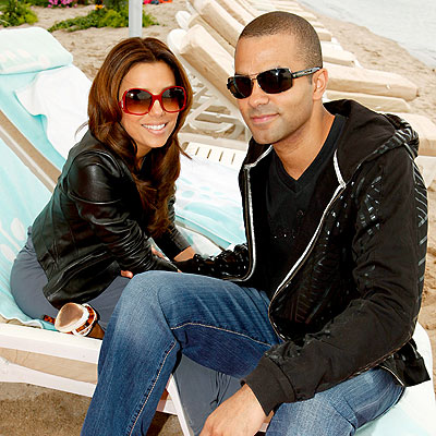 Cute couple Tony Parker and Eva Longoria chill out during the Cannes International Film Festival at the VitaminWater beach.