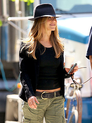 "Jennifer Aniston on the set of her new romantic comedy ""The Baster."""