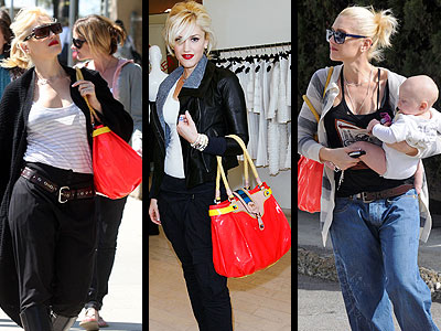 """We love it when Gwen gets daring; like with her bold orange L.A.M.B. """"Percy"""" tote."""