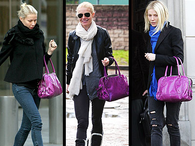 Gywneth Paltrow demonstates how you can either make a bold bag stick out with all basic colors OR pair it with another bold color, like with this Tod's exotic purple bag.
