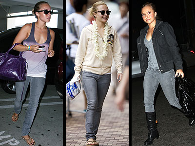 """Hayden Panettiere shows how her favorite pair of Paige """"Blue Heights"""" skinny denim in """"Greywalls""""  can be sporty, casual or dressy."""