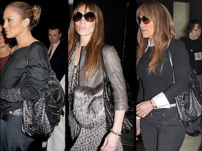 """Another fan of Valentino's studded """"Petale"""" tote is J-Lo."""