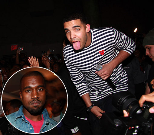 Kanye stops by SOB's in New York City to catch Drake's performance.