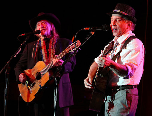 Willie Nelson and Paul Simon gig at the Children's Health Fund Benefit.