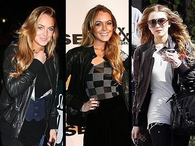 """Lindsay dress up and down her Diesel Black Gold collection """"Gansy"""" leather bomber jacket."""