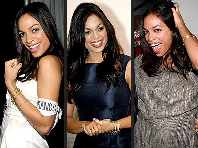 Rosario Dawson nevers leaves without her glam C. Greene gold bangles.