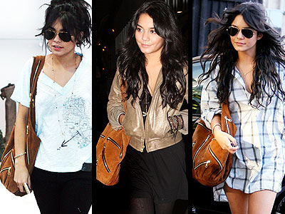 Vanessa Hudgens' JJ Winters multi-zipper hobo can be carried  with dressy or casual attire.