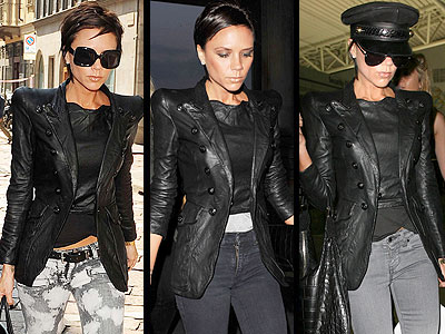Victoria Beckham looks like the perfect futuristic biker girl in her sharp-shouldered Balmain leather blazer.