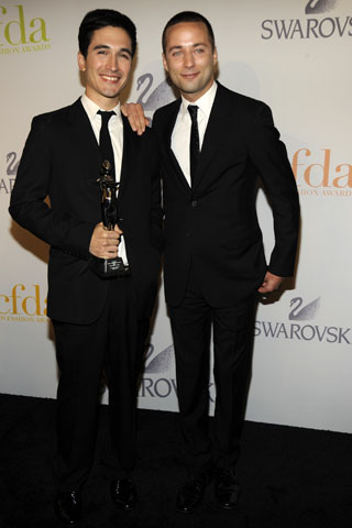 Accessory Designers of the Year Lazaro Hernandez and Jack McCollough of Proenza Schouler.