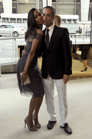 Zoe Saldana, in Calvin Klein Collection, with Francisco Costa.