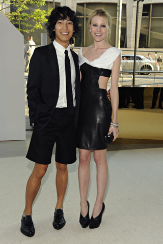Swarovski Award for Womenswear winner Alexander Wang, with Dree Hemingway, in his design and Fred Leighton jewelry.