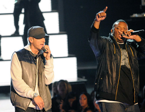 "Eminem performs before the infamous prank with ""Bruno."""