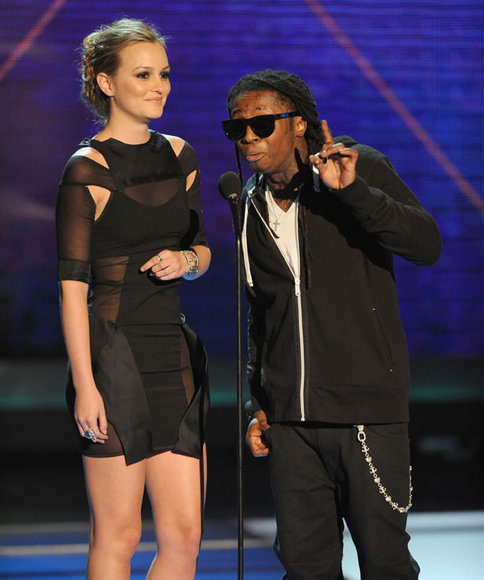 A gorgeous Leighton Meester and a fly Lil Wayne onstage.