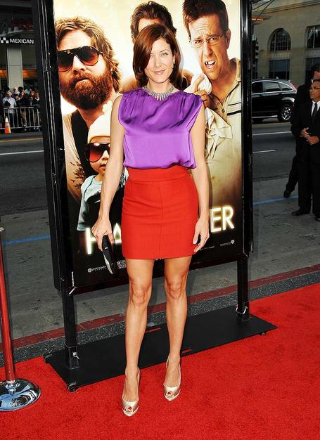 """.""""Eat your heart out Jessica Rabbit! """"Private Practice"""" star Kate Walsh looks yummy in a purple satin top and Stella McCartney skirt at the premiere of """"Hangover."""""""