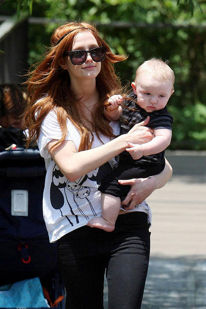 Ashlee Simpson Wentz and Bronx taking a walk.
