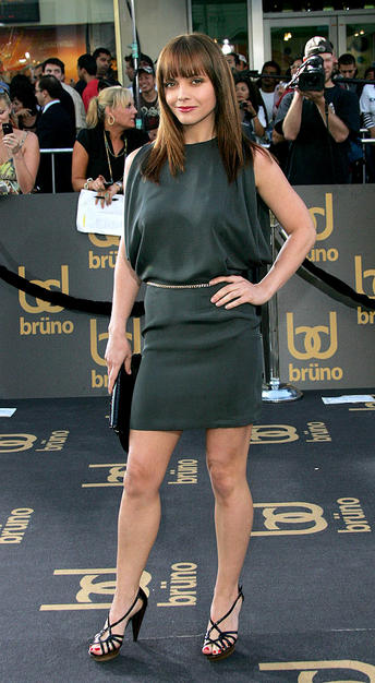 "Christina Ricci looks hot at the ""Bruno"" premiere in a Opening Ceremony dress and strappy Lanvin heels."