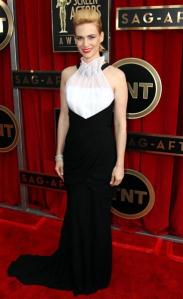 WORST DRESSED! JANUARY JONES in Prabal Gurung. To promy! But we love her hair!