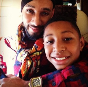Swizzy over the holidays with his oldest son.