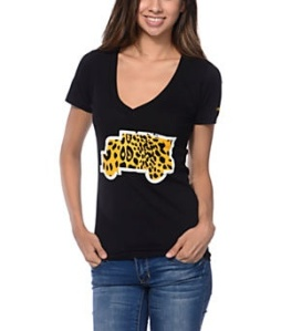 Trukfit Girls Cheetah Filled Truck Black V-Neck Tee Shirt $29.95