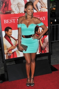 For some ratched reason, we didn't even recognize beauty Claudia Jordan. But this teal club dress has no business on the red carpet.