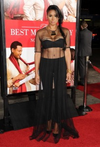 """WHAT WAS SHE THINKING! Laura Govan usually looks great (especially of BW LA) but at the red carpet premiere of """"Best Man Holiday,"""" she made a tragic mistake in this get-up on Nov 5."""