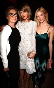 "Three Generations of beauty and talent: Meryl Streep, Taylor Swift and Jaime King danced the night away to Pharrell Williams ""Happy."""